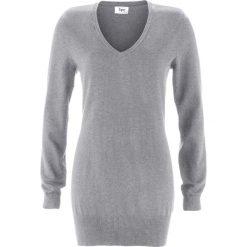 Długi sweter bonprix szary melanż. Szare swetry klasyczne damskie bonprix, z dzianiny. Za 59,99 zł.