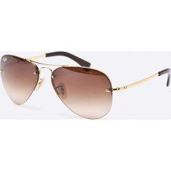 Ray-Ban - Okulary. Szare okulary przeciwsłoneczne męskie aviatory marki Ray-Ban, z materiału. Za 549,90 zł.