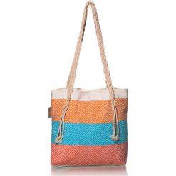 """Torba plażowa """"Waves"""" w kolorze pomarańczowo-błękitnym - 40 x 50 cm. Brązowe shopper bag damskie Begonville, z bawełny. W wyprzedaży za 108,95 zł."""