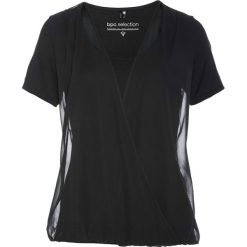 Bluzka shirtowa bonprix czarny. Czarne bluzki asymetryczne bonprix, z szyfonu, z kopertowym dekoltem. Za 74,99 zł.