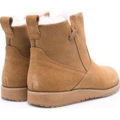 Emu Australia - Botki Beach Mini. Brązowe buty zimowe damskie marki EMU Australia, z materiału, z okrągłym noskiem, na wysokim obcasie, na obcasie. Za 579,90 zł.