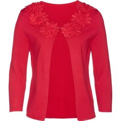 Sweter rozpinany z kwiatową aplikacją bonprix czerwony. Czerwone swetry rozpinane damskie bonprix. Za 129,99 zł.