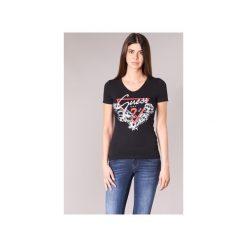 T-shirty z krótkim rękawem Guess  FENALIE. Czarne t-shirty damskie Guess, l, z aplikacjami. Za 129,00 zł.