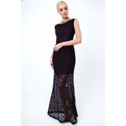Sukienki: Sukienka koronkowa długa czarna G5282