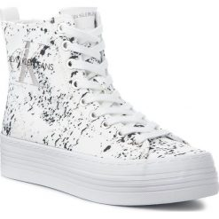 Sneakersy CALVIN KLEIN JEANS - Zazah Splattered RE9792 White. Białe sneakersy damskie marki Calvin Klein Jeans, z jeansu. Za 519,00 zł.