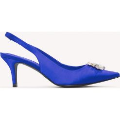 Buty ślubne damskie: NA-KD Shoes Czółenka na niskim obcasie ze zdobieniem - Blue