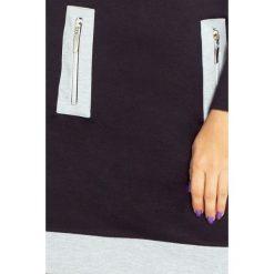 NIKI sukienka z trzema zamkami - CZARNA + szare zamki. Szare sukienki na komunię marki numoco, s, z materiału, z golfem. Za 159,99 zł.