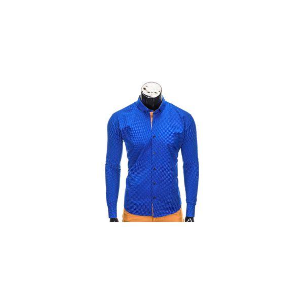 ec949058832d0b KOSZULA MĘSKA ELEGANCKA Z DŁUGIM RĘKAWEM K326 - NIEBIESKA - Niebieskie koszule  męskie Ombre Clothing, s, z bawełny, z kontrastowym kołnierzykiem, ...