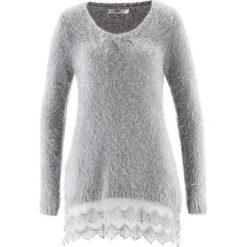 Swetry klasyczne damskie: Długi sweter z koronką, długi rękaw bonprix matowy srebrny