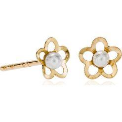 Kolczyki damskie: Wspaniałe Złote Kolczyki – złoto żółte 375, Perła