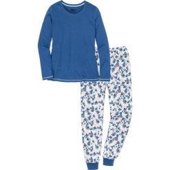 Piżamy damskie: Piżama, bawełna organiczna bonprix indygo-biel wełny z nadrukiem