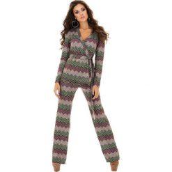 Kardigany damskie: 2-częściowy zestaw w kolorze różowo-khaki – kardigan, spodnie