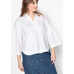 Bluzki asymetryczne: Bluzka z czystej bawełny z dekoltem z pęknięciem