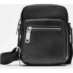 Czarna torba przez ramię. Czarne torby na ramię męskie Kazar, w paski, z tkaniny, przez ramię, małe. Za 349,00 zł.