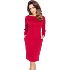 Sukienki: ZITA – elegancka sukienka z plisą bordo
