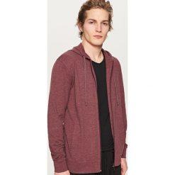 Bluzy męskie: Rozpinana bluza z kapturem – Bordowy
