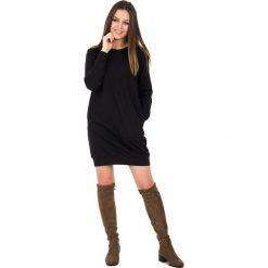 Sukienki dresowe: Czarna bawełniana sukienka z długim rękawem BIALCON