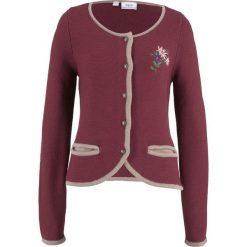 Sweter rozpinany w ludowym stylu, z haftem, długi rękaw bonprix czerwony klonowy - kamienisty. Zielone kardigany damskie marki bonprix, w kropki, z kopertowym dekoltem, kopertowe. Za 74,99 zł.