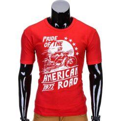 T-SHIRT MĘSKI Z NADRUKIEM S753 - CZERWONY. Czerwone t-shirty męskie z nadrukiem Ombre Clothing, m. Za 29,00 zł.