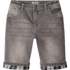 Odzież dziecięca: Bermudy dżinsowe z wywiniętymi nogawkami w kratę bonprix szary denim
