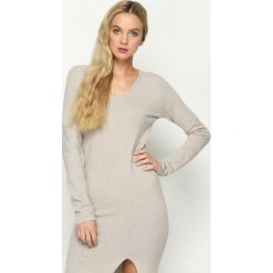 Ciemnobeżowa Sukienka Grant. Brązowe sukienki dzianinowe Born2be, na jesień, l. Za 49,99 zł.