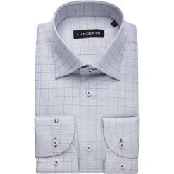 Koszula Popielata w Kratę Leppa. Szare koszule męskie na spinki marki LANCERTO, m, z bawełny. W wyprzedaży za 149,90 zł.