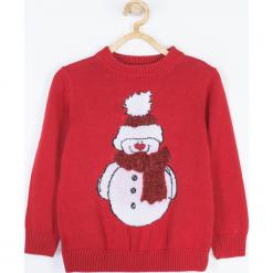 Sweter. Czerwone swetry chłopięce Merry Christmas, z aplikacjami, z bawełny. Za 69,90 zł.