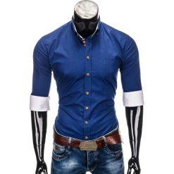 KOSZULA MĘSKA ELEGANCKA Z DŁUGIM RĘKAWEM K302 - CIEMNOGRANATOWA. Brązowe koszule męskie na spinki marki Ombre Clothing, m, z aplikacjami, z kontrastowym kołnierzykiem, z długim rękawem. Za 59,00 zł.