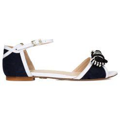 Sandały damskie: Skórzane sandały w kolorze czarno-białym