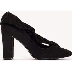 Czółenka: NA-KD Shoes Czółenka na średnim obcasie z falbanką – Black