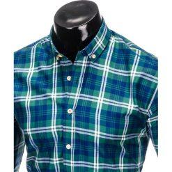 KOSZULA MĘSKA W KRATĘ Z DŁUGIM RĘKAWEM K405 - ZIELONA. Brązowe koszule męskie na spinki marki Ombre Clothing, m, z aplikacjami, z kontrastowym kołnierzykiem, z długim rękawem. Za 49,00 zł.