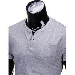T-SHIRT MĘSKI BEZ NADRUKU S667 - SZARY. Szare t-shirty męskie z nadrukiem Ombre Clothing, m, z bawełny, ze stójką. Za 24,99 zł.