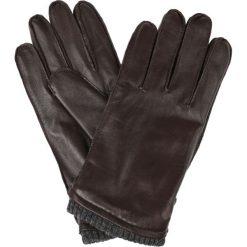 Rękawiczki Brązowe. Brązowe rękawiczki męskie LANCERTO, w paski, ze skóry. W wyprzedaży za 139,90 zł.