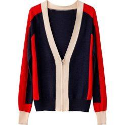 Sweter na suwak color-block. Szare kardigany damskie marki La Redoute Collections, m, z bawełny, z kapturem. Za 126,38 zł.