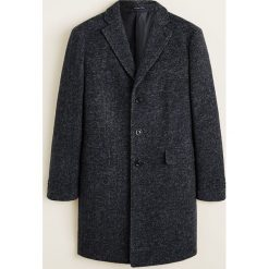 Mango Man - Płaszcz Utahazul. Czarne płaszcze na zamek męskie Mango Man, l, z materiału, klasyczne. Za 549,90 zł.