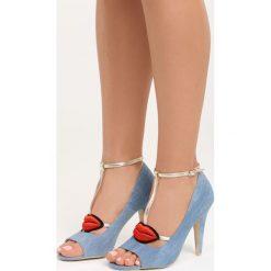 Jasnoniebieskie Sandały Red Lips. Czerwone sandały damskie marki Born2be, z aplikacjami, z denimu, na wysokim obcasie, na obcasie. Za 79,99 zł.