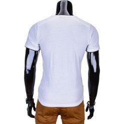T-shirty męskie: T-SHIRT MĘSKI BEZ NADRUKU S681 – BIAŁY