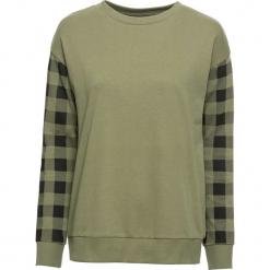 Bluza dresowa bonprix oliwkowo-czarny w kratę. Zielone bluzy z nadrukiem damskie bonprix, z dresówki. Za 89,99 zł.