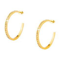 Kolczyki damskie: Pozłacane kolczyki-kreole ze szklanymi kryształkami