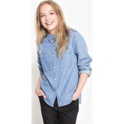 Denimowa koszula 10-16 lat. Szare bluzki dziewczęce bawełniane La Redoute Collections, z koszulowym kołnierzykiem, z długim rękawem. Za 73,46 zł.