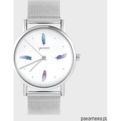 Zegarki damskie: Zegarek - Turkusowe piórka - metalowy