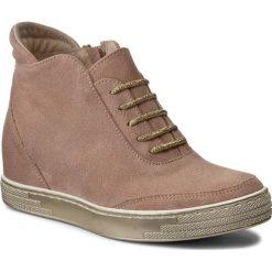 Sneakersy damskie: Sneakersy ROBERTO – 556 Puder Róż Welur