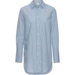 Długa  bluzka bonprix niebiesko-biały w paski. Niebieskie bluzki asymetryczne bonprix, w paski, klasyczne, z klasycznym kołnierzykiem, z długim rękawem. Za 69,99 zł.