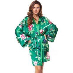 Luksusowy jedwabny szlafrok Cloe. Zielone szlafroki kimona damskie Astratex, w paski, z jedwabiu. Za 255,99 zł.
