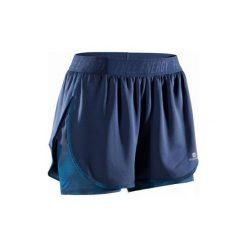 Spodenki 2 w 1 fitness kardio 500 damskie. Niebieskie spodenki sportowe męskie marki DOMYOS, z elastanu. W wyprzedaży za 44,99 zł.