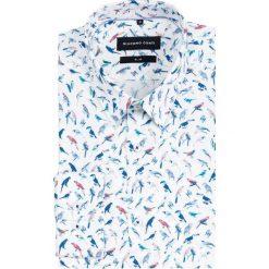 Koszula SIMONE slim KDWS000465. Niebieskie koszule męskie na spinki marki bonprix, m, z nadrukiem, z klasycznym kołnierzykiem, z długim rękawem. Za 299,00 zł.