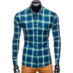 KOSZULA MĘSKA W KRATĘ Z DŁUGIM RĘKAWEM K405 - ZIELONA. Zielone koszule męskie na spinki Ombre Clothing, m, z długim rękawem. Za 49,00 zł.
