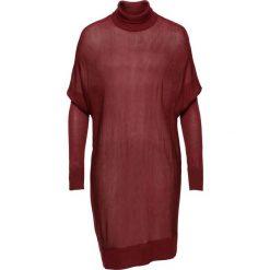 Swetry oversize damskie: Sweter z golfem oversize bonprix czerwony kasztanowy