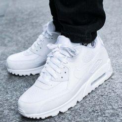 """BUTY NIKE AIR MAX 90 ESSENTIAL """"ALL WHITE"""" (537384-111). Białe buty skate męskie Nike, z materiału, nike air max. Za 419,99 zł."""