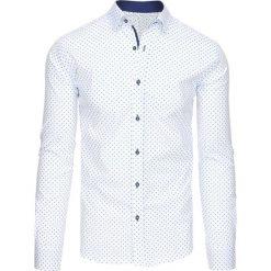 Koszule męskie na spinki: Biała koszula męska we wzory z długim rękawem (dx1443)